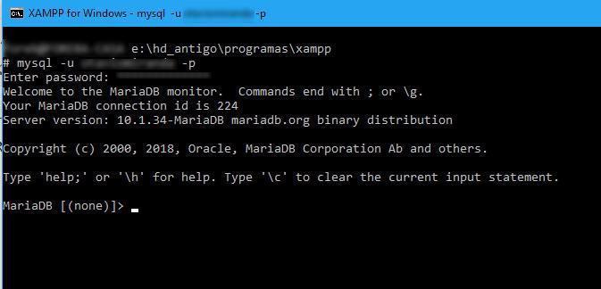 Já conectado ao servidor MySQL (na verdade MariaDB) por linha de comando