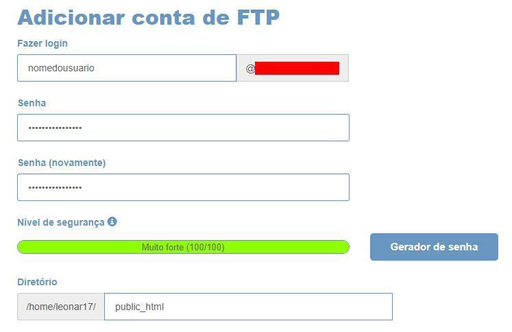 Criar conta de FTP
