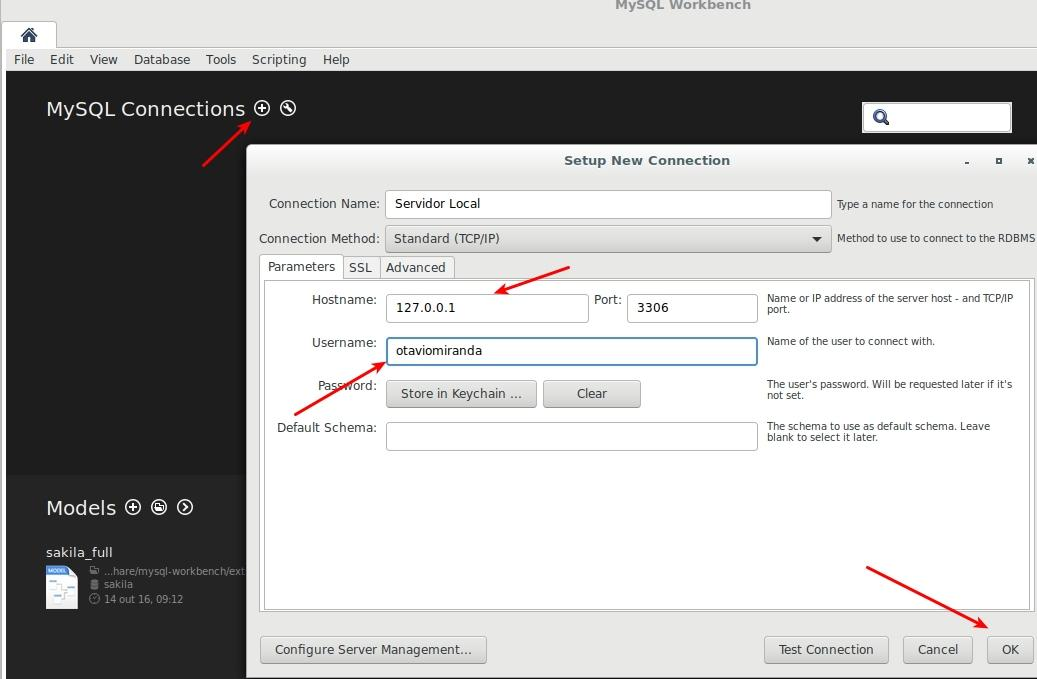 Adicionando seu servidor no MySQL Workbench