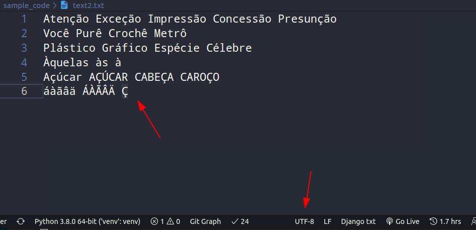 Texto em UTF-8, agora em outro arquivo.