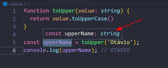 Figura 5. VSCode + tsserver exibindo o tipo de uma variável